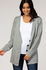 Grey Knit Button Front Cardigan