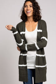 Olive Striped Open Front Cardigan