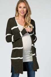 Olive Striped Open Front Maternity Cardigan
