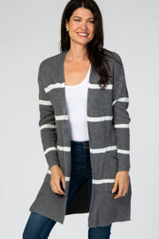 Charcoal Striped Open Front Cardigan