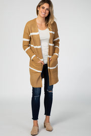 Camel Striped Open Front Cardigan