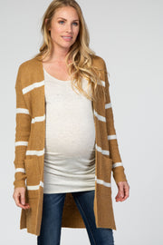 Camel Striped Open Front Maternity Cardigan