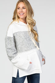 Ivory Long Sleeve Hooded Distressed Edge Maternity Hoodie