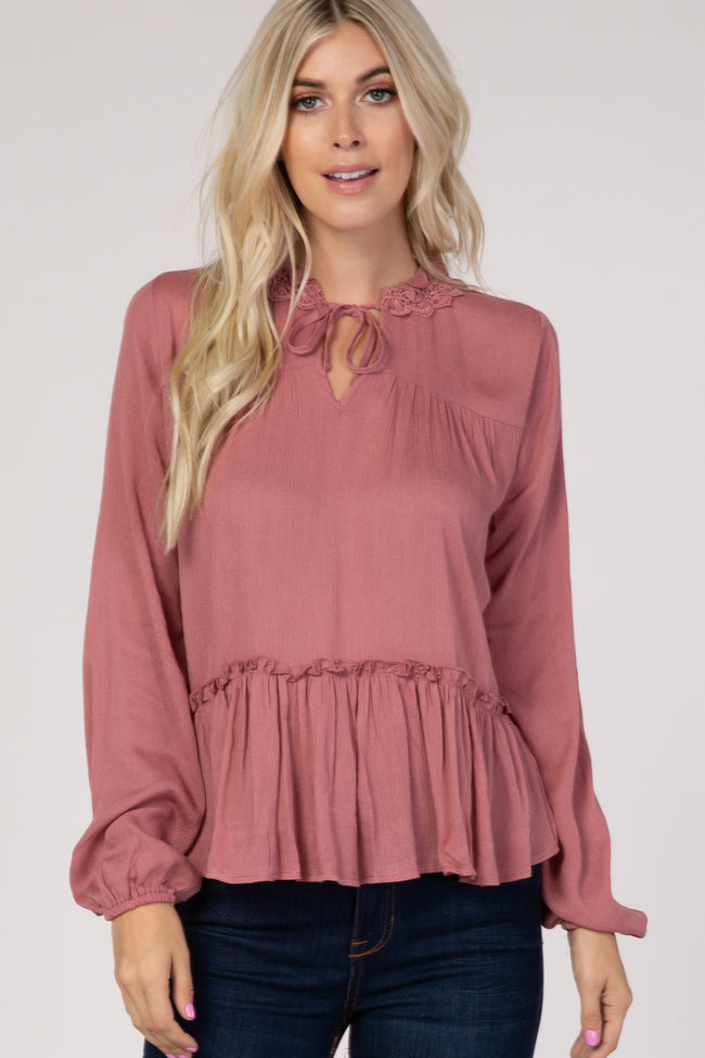 Mauve Crochet Trim Tie Front Top