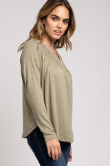 Light Olive Smocked Front Long Sleeve Top