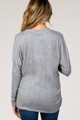 Heather Grey Dolman Sleeve V-Neck Maternity Top
