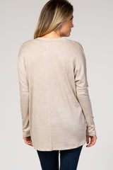 Beige Heathered Dolman Sleeve V-Neck Top