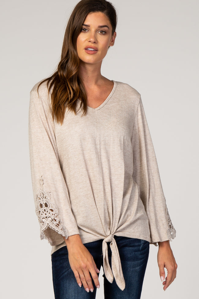 Beige Crochet Sleeve Knotted Hem Maternity Top