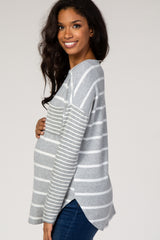 Grey Striped Pocket Front Long Sleeve Maternity Top