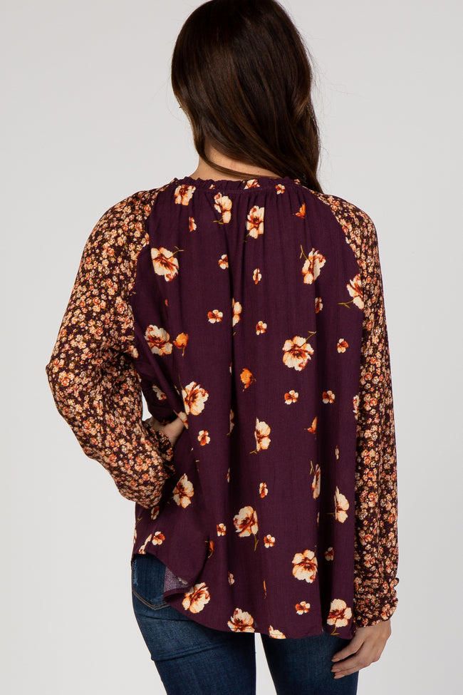 Plum Floral Tie Front Puff Sleeve Blouse