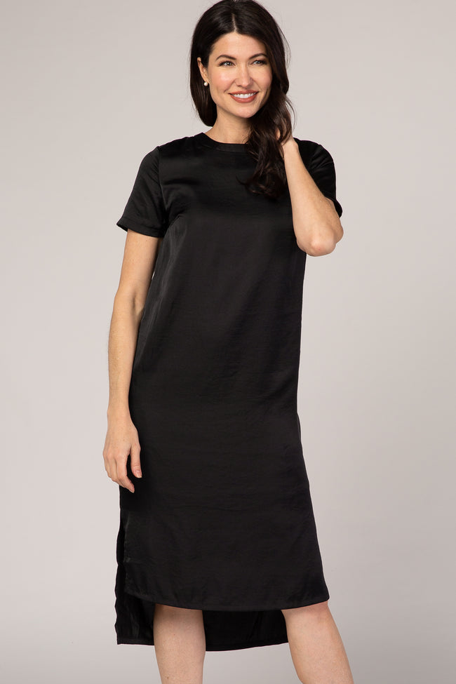 Black Satin Hi-Low Maternity Midi Dress
