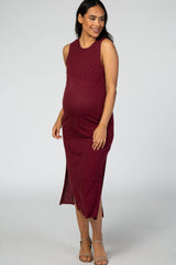 Burgundy Sleeveless Speckled Maternity Midi Dress
