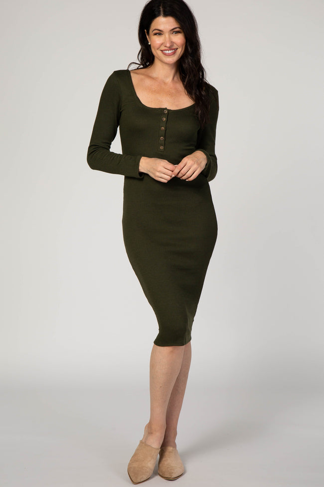 Olive Ribbed Button Front Fitted Maternity Dress