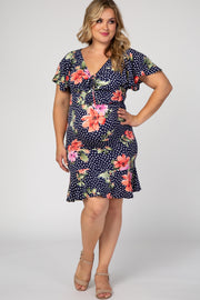 Navy Blue Polka Dot Floral Plus Maternity Flounce Dress