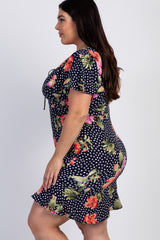 Navy Blue Polka Dot Floral Plus Flounce Dress