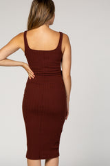 Burgundy Ribbed Fitted Wrap Tie Maternity Dress