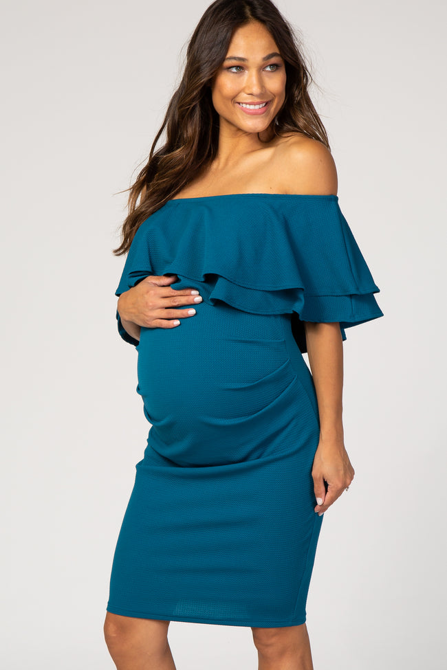 PinkBlush Teal Ruffle Off Shoulder Ruched Maternity Dress