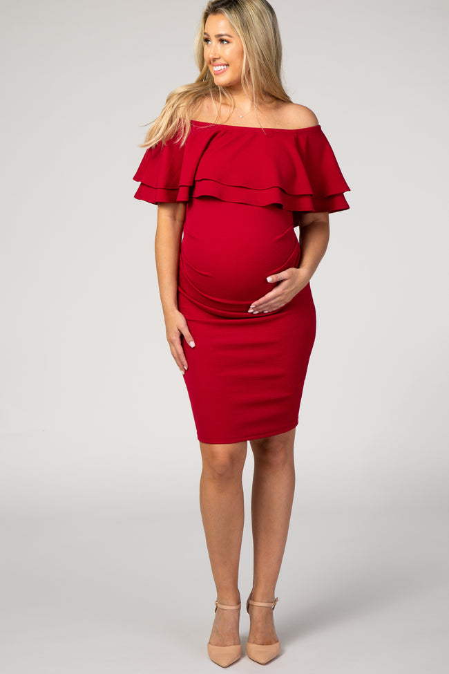 Red Ruffle Off Shoulder Ruched Maternity Dress