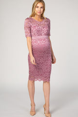 Mauve Lace Overlay Sash Tie Maternity Dress
