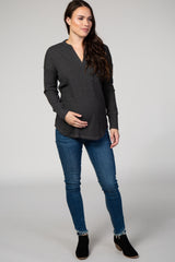 Charcoal Waffle Soft Knit V-Neck Long Sleeve Maternity Top