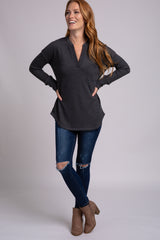Charcoal Waffle Knit V-Neck Long Sleeve Top