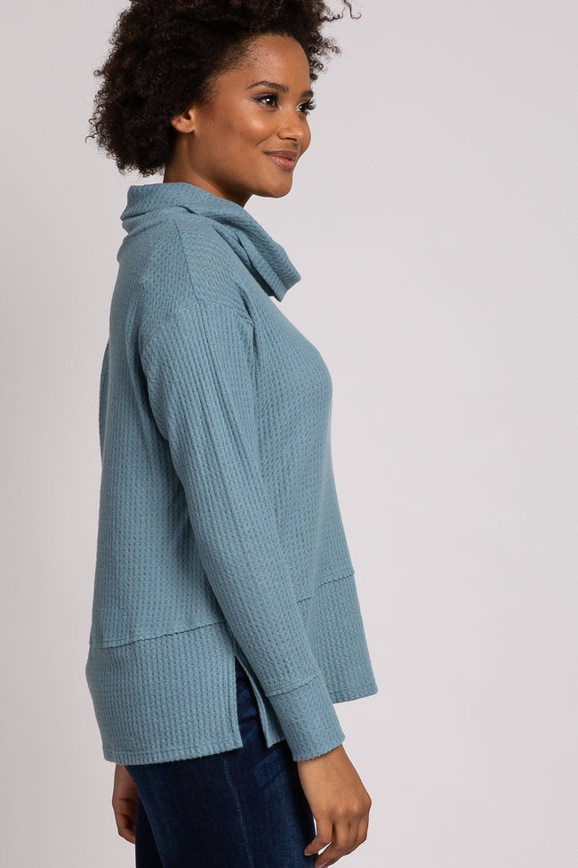 Blue Soft Waffle Knit Cowl Neck Top