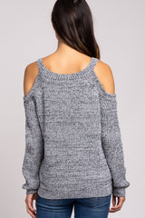 Charcoal Cold Shoulder Maternity Sweater