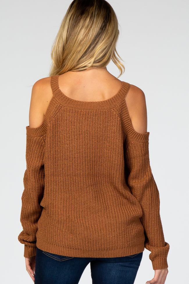 Camel Cold Shoulder Maternity Sweater