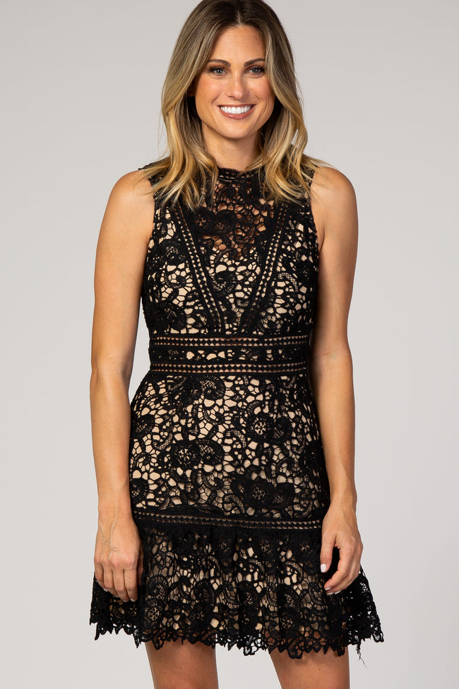 Black Lace Overlay Fitted Dress