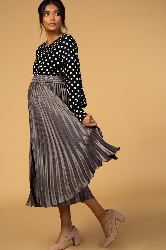 Waverleigh Charcoal Shiny Pleated Midi Maternity Skirt