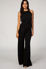 Black Solid Halter Neck Maternity Jumpsuit