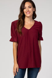 Burgundy Swiss Dot Puff Ruffle Short Sleeve Top