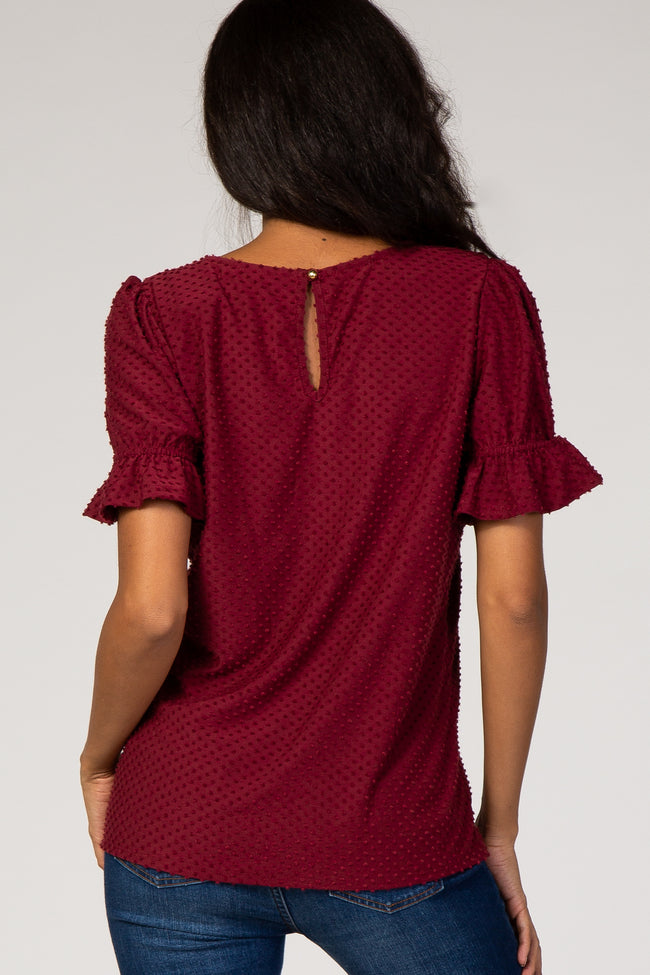 Burgundy Swiss Dot Puff Ruffle Short Sleeve Maternity Top
