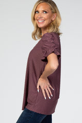 Purple Swiss Dot Puff Ruffle Short Sleeve Top