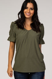 Olive Swiss Dot Puff Ruffle Short Sleeve Top