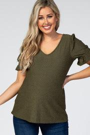 Olive Swiss Dot Puff Ruffle Short Sleeve Maternity Top