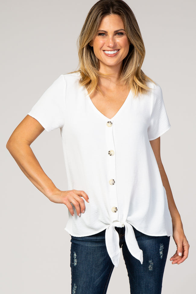 Ivory Button Tie Front Maternity Top