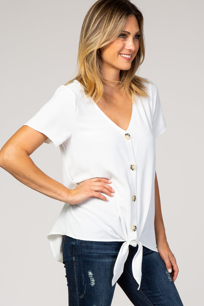 Ivory Button Tie Front Top