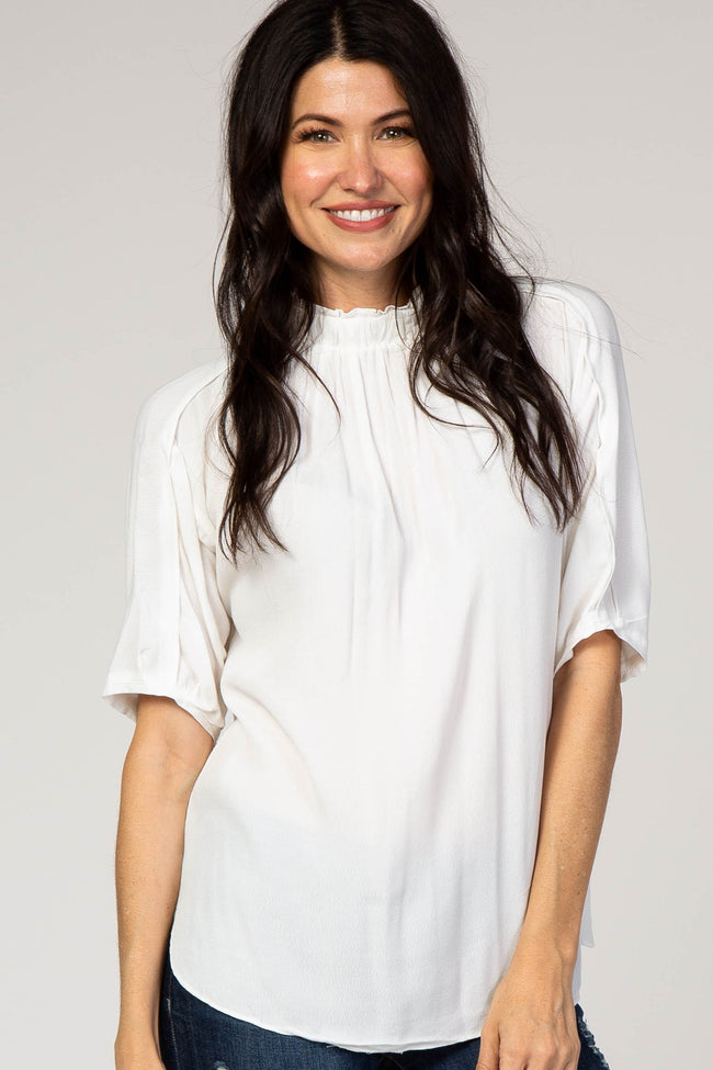 White Ruffle High Neck Maternity Top