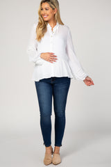 White Crochet Puff Sleeve Maternity Blouse