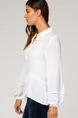 White Crochet Puff Sleeve Blouse