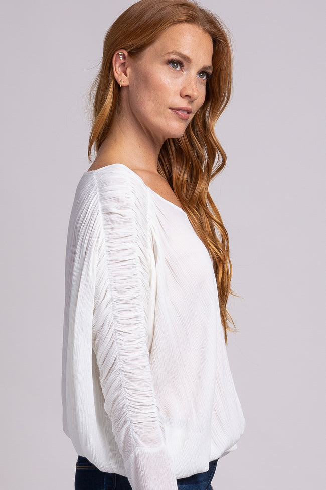 Ivory Shirred Long Sleeve Top