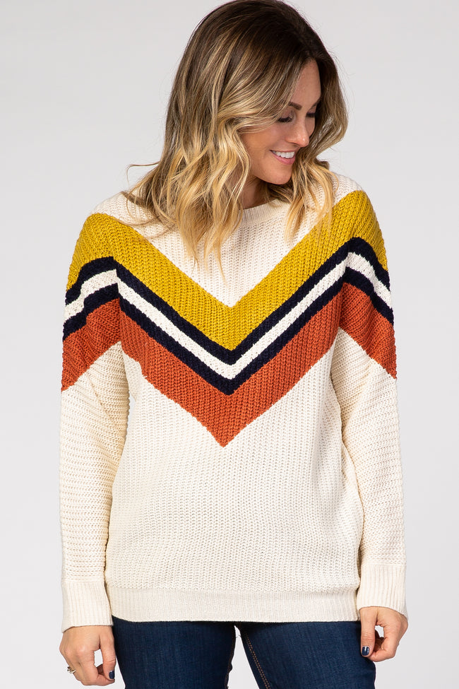 Ivory Multi-Color Chevron Striped Pullover Maternity Sweater