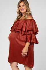 Rust Satin Ruffle Off Shoulder Plus Maternity Dress