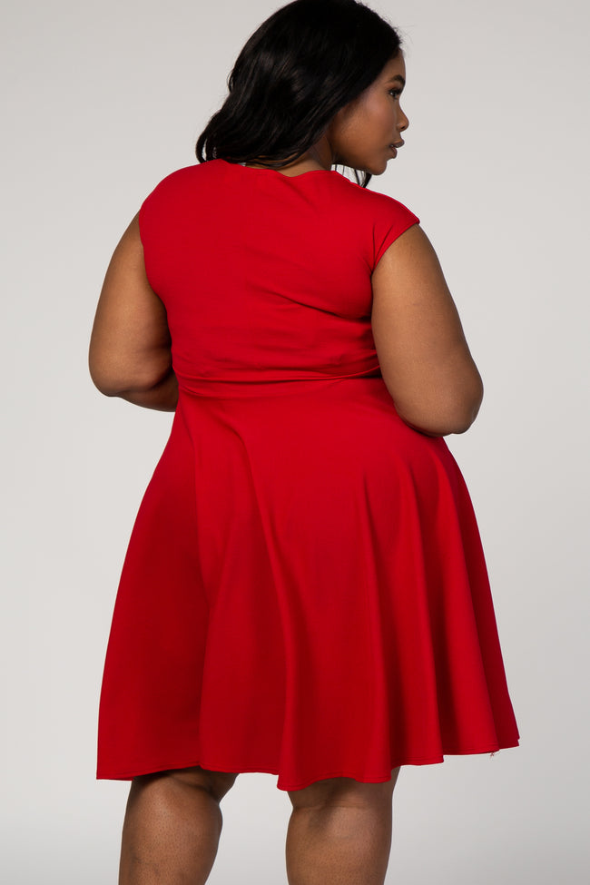 Red Solid Sleeveless Sweetheart Plus Dress