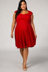 Red Solid Sleeveless Sweetheart Maternity Plus Dress