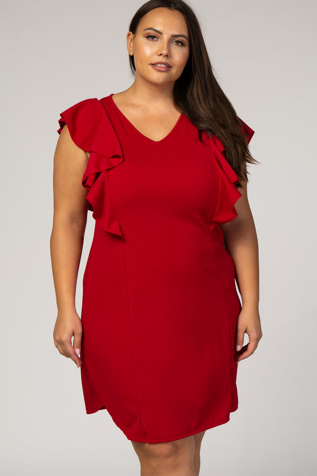 Red Solid Ruffle Sleeve Plus Dress