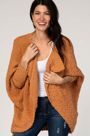 Yellow Popcorn Open Front Dolman Sleeve Cardigan