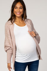 Beige Cable Knit Dolman Sleeve Maternity Cardigan