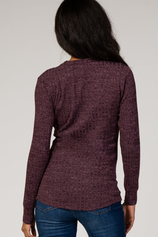 Plum V-Neck Ribbed Long Sleeve Knit Maternity Top